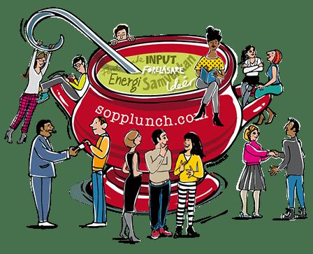 Soppskål med människor